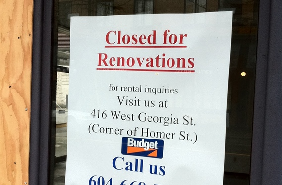 "Budget car rental ""Closed for Renovations"" sign"