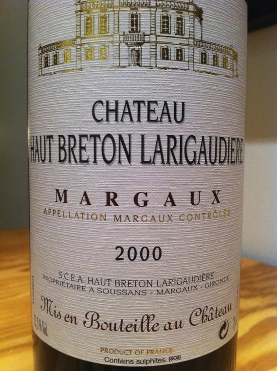 Château Haut Breton Larigaudiere Margaux 2000